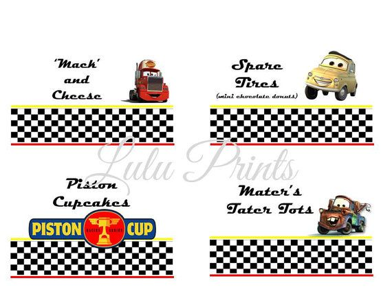 Disney CARS Buffet Card  Tent Cards by LuLuPaperPrints on Etsy, $5.00