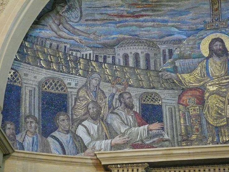 Basilica di Santa Pudenziana, Roma. Il mosaico Cristo in trono circondato dagli apostoli. 390.