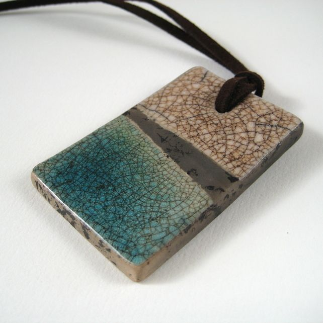 Raku Pendant (Mushroom and Blue Green Crackle) £20.00