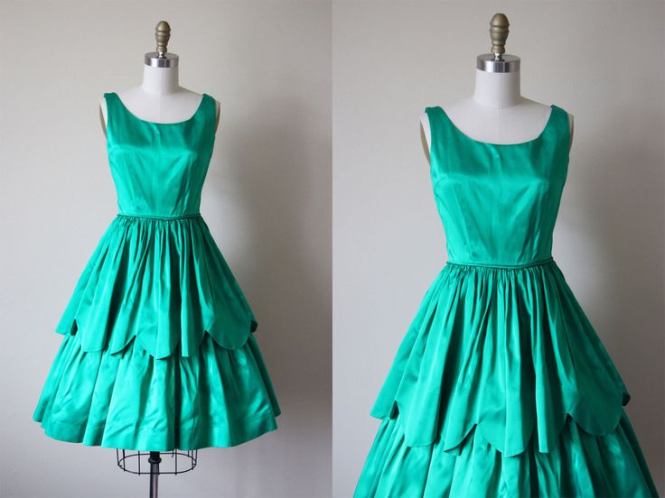 50s Dress - Vintage 1950s Party Dress - Emerald Green Satin Scalloped Peplum Party Dress XS - Petra Pan Dress by jumblelaya on Etsy