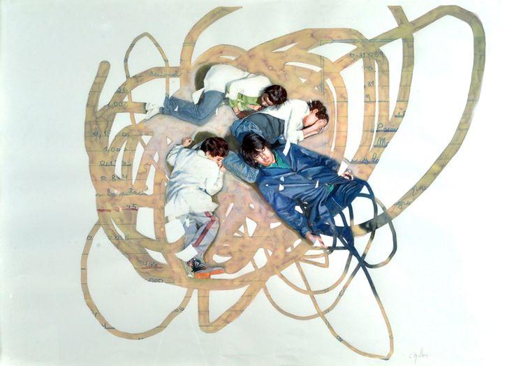 """Soñadores"" . acuarela sobre papel . 75x105cm . (2011) de Claudio Gallina, pintor argentino"