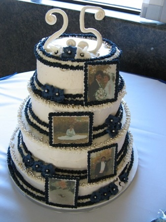 25th Anniversary Cake with edible pictures fake-cakes-by-catherine