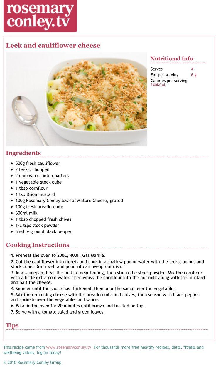 Rosemary Conley's leek & cauliflower cheese