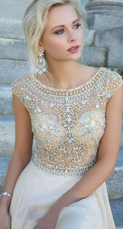 DIYouth Hot Sale Crystal Beading Evening Dresses Cap Sleeves Chiffon Floor Length Evening Gowns For Homecoming,Celebrity Dresses,Open Back Prom Dresses,Champagne evening dresses