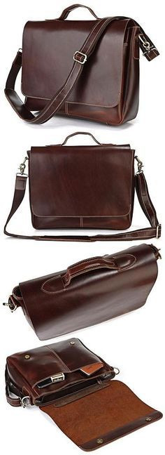 """Main Material: Genuine Leather Pattern Type: Solid Gender: Unisex Color: Dark Chocolate Size: 15""""L x 4.5""""W x 12""""H inches Weight: 3.3 lbs 3 Exterior Pockets, Inside Laptop Compartment The Leather Flapo"""