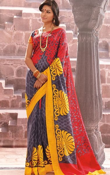Picture of Awesome Grey and Red Color Printed Saree