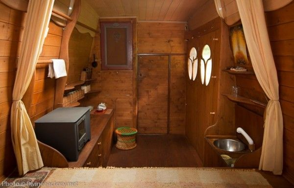 Tiny van to home conversion.  I like how these windows could cover outside van windows for privacy/stealth.  Old also be used on a bus conversion.  Go to link to see all of this.  Pretty cool.