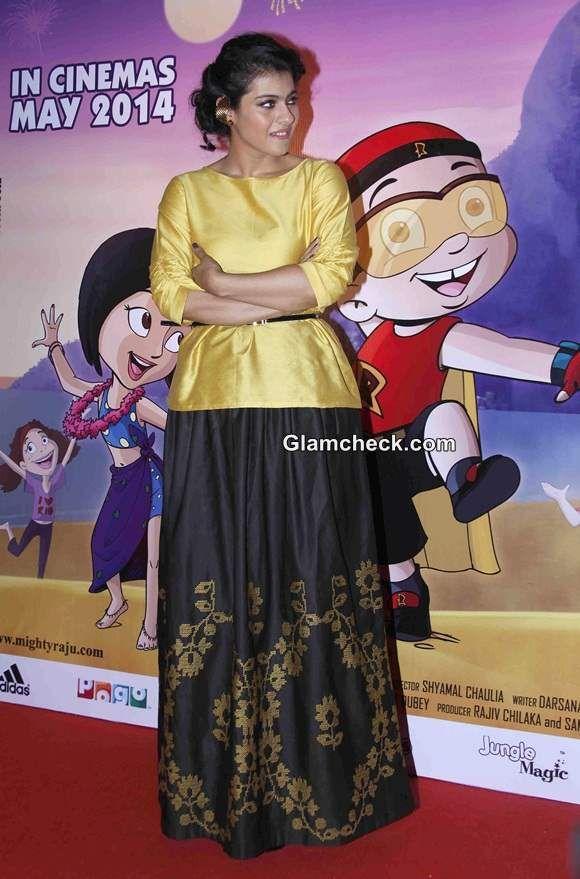 Kajol Devgan in Payal Pratap Skirt Blouse Promotes Mighty Raju Rio Calling