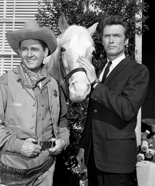 Alan Young (left), Mister Ed (horse), and Clint Eastwood
