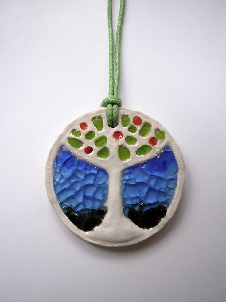 """The ceramic and glass pendant """"Tree of life"""""""