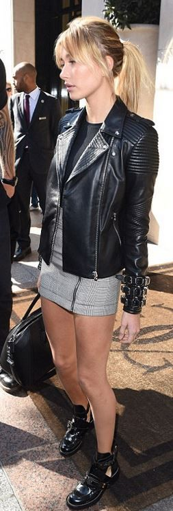 Hailey Baldwin: Jacket – Versace  Skirt – Topshop  Shoes – Balenciaga  Purse – Givenchy