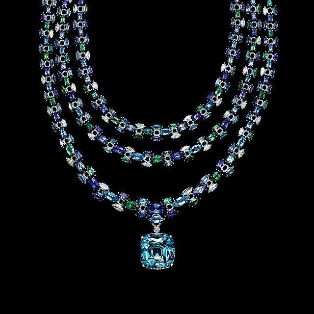 --TIFFANY & CO-- A 52-carat Aquamarine on a multi gem necklace.