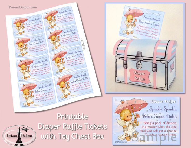 1/2 OFF COUPON Diaper Raffle Tickets, Ticket Holder, Printable Baby Shower Diaper Raffle Cards with Matching Drop Box 002-DR by DetourDuJour on Etsy