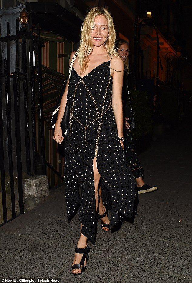 Sienna Miller stuns in black frock in at Annabel's, London | Daily Mail Online