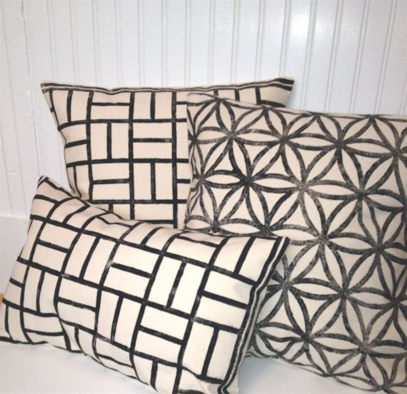 Modern Decorative Pillow Black Ink CanvasThrow by MacAndLexie