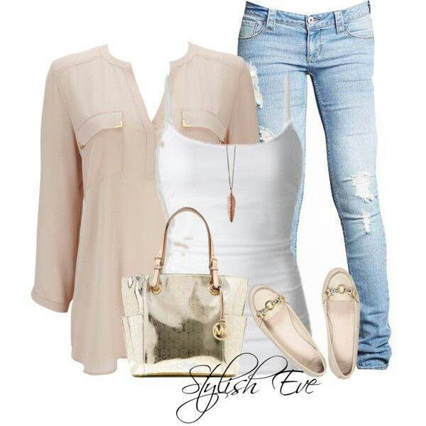 pink gold white light wash jeans outfit light jeans