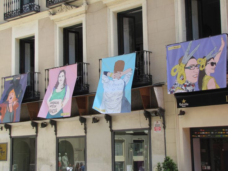 Acha-Kutscher prints her drawings onto large tarps to display in public spaces. She hangs them from balconies and windows in cities all around the world.
