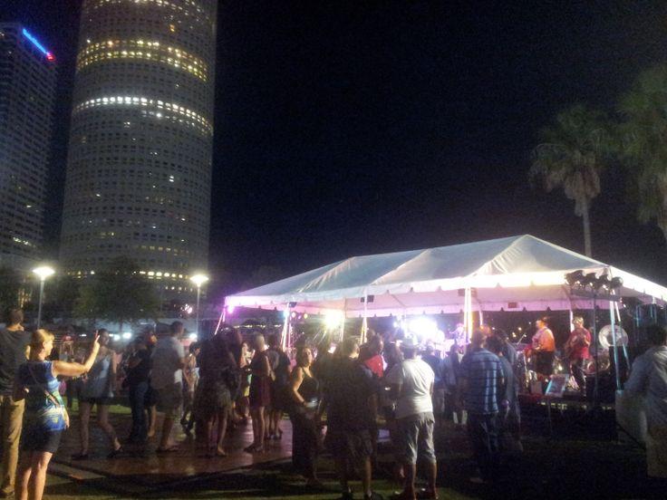 Nighttime fun at Oktoberfest Tampa. At Curtis Hixon Waterfront Park.