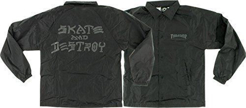 Thrasher Skate and Destroy Black XLarge Coach Jacket ** You can get additional details at the image link.