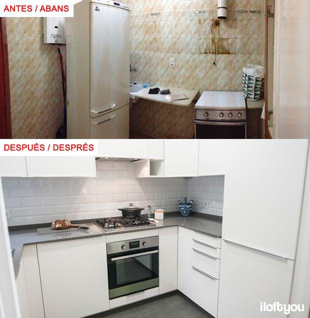 #proyectorossello #iloftyou #interiordesign #barcelona #lowcost #catalunya #antes #kitchen #cocina #veddinge #metrotiles #baldosametro