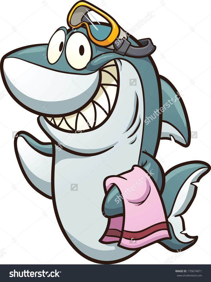 Cartoon shark wearing goggles. Vector clip art ...