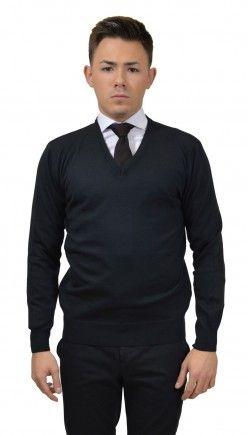Fekete V nyakú pulóver