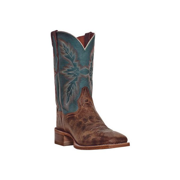 Men's Dan Post Boots Bail Out DP2940 - Tan/Turquoise Leather Cowboy... ($178) ❤ liked on Polyvore featuring men's fashion, men's shoes, men's boots, mens shoes, mens square toe cowboy boots, mens square toe boots, mens boots and mens cowboy boots