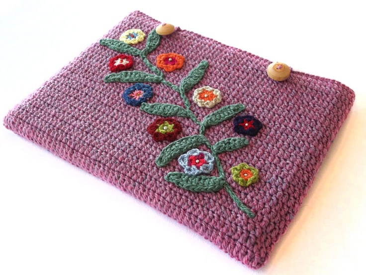 Crocheted African flowers laptop sleeve