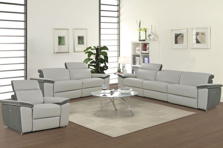 Enjoy an ambiance of refined modern elegance with the Aura Light Grey Top Grain Leather Power Reclining Sofa , Loveseat and Reclining Chair by Levoluxe. This designer sofa set includes a sofa and loveseat, each with two power reclining seats, and offers a modular design for custom configuration.  Adjust the headrest and footrest support and recline with the touch of a finger and relax in sophisticated comfort and style.