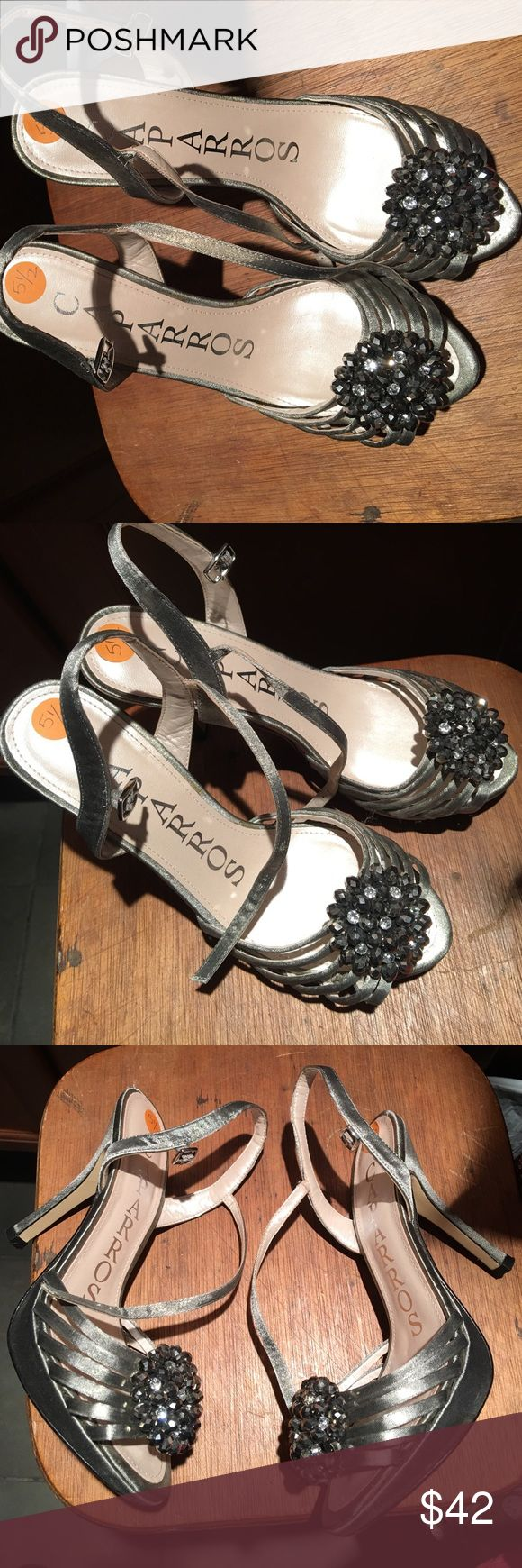 Caparros metallic silver sandals Bling! Metallic silver heels..great for evening wear or formal attire. Sole is leather. Minimal wear & tear! Caparros Shoes Heels
