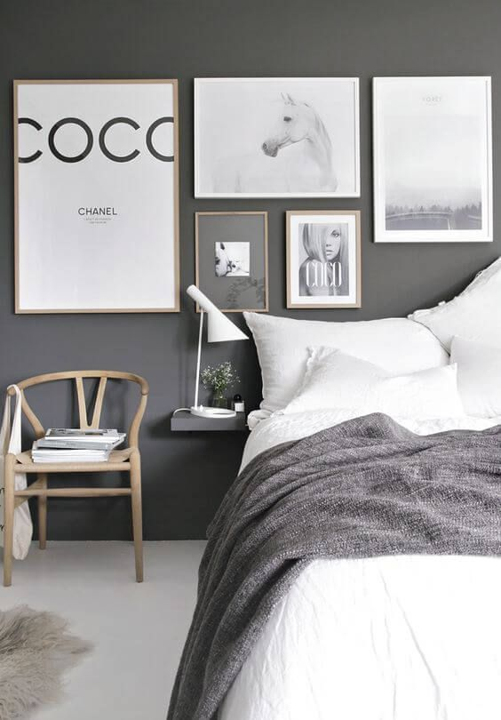 77 Gorgeous Examples of Scandinavian Interior Design. Beautifully stylish, and simple scandi bedroom with a calming grey colour palette and fabulous wall collage.