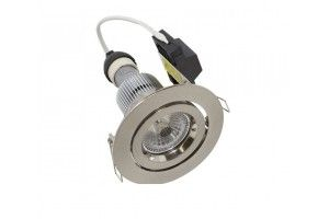 Martec Primary GU10 9W LED Gimbal Downlight Kit, 60° (Satin Chrome) Dimmable Warm White Light