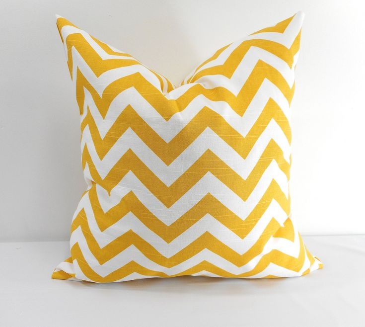 Chevron Yellow Pillow case. Sham cover. yellow Chevron. Yellow and white,Zig Zag Cushion cover, Select your size. by TwistedBobbinDesigns on Etsy