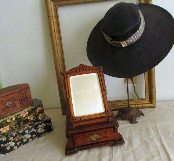 Victorian Walnut Eastlake Dresser Box Standind Dresser Mirror Storage Jewelry Dresser Gentlemens Box or Ladies Box c. 1800's