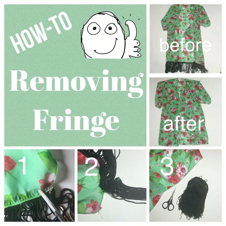 LuLaRoe Monroe kimono. Removing the fringe.