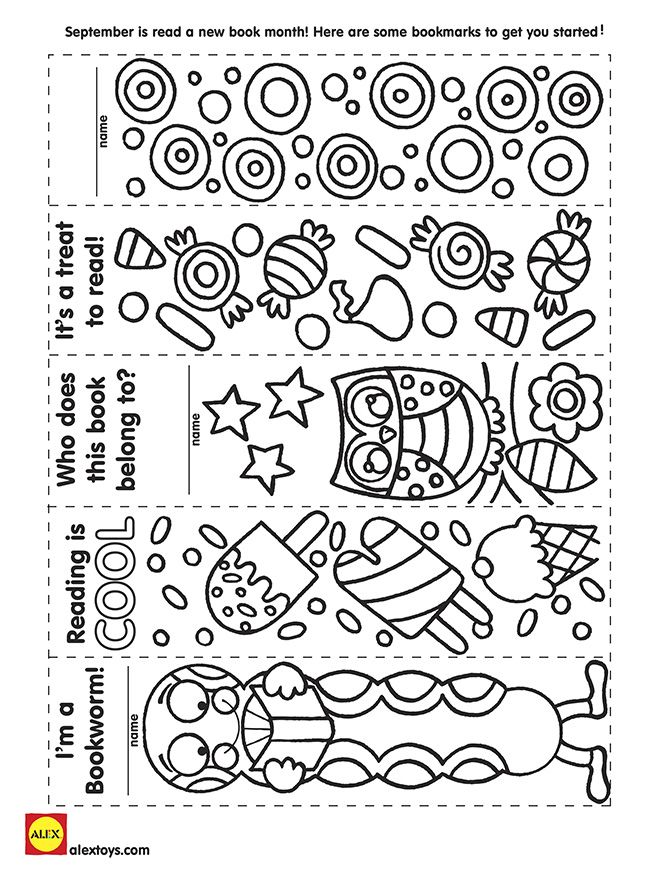 September is new book month. Download our bookmarks to cut and color at home!