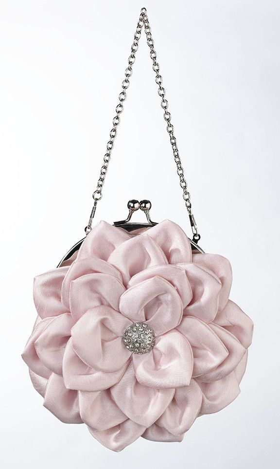 "Standing 7"" tall, this pink satin purse is perfect for carrying your wedding day essentials. The pink satin purse is shaped as a flower and touched off with a silver rhinestone decoration. This purse"