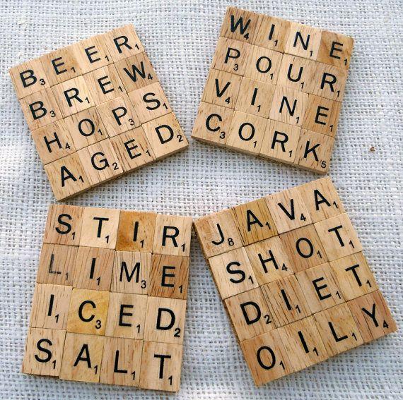 Scrabble tile coasters - such a cute idea.