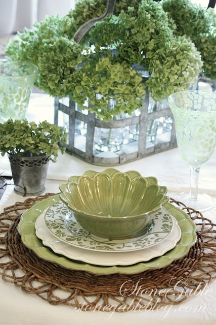 GREEN HYDRANGEAS TABLESCAPE ~ A natural looking element, like the twig charger + dishes  with interesting edges and great detail