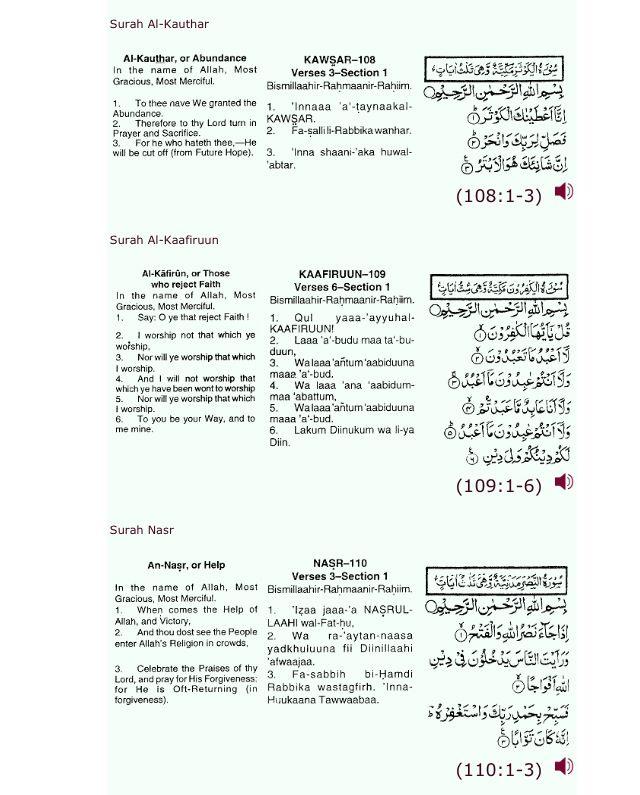 Surat pendek  : Al Kautsar  Al Kafirun  An Nasr