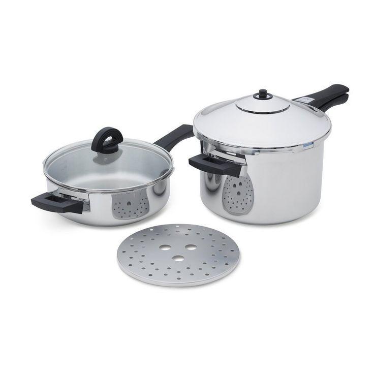 Kuhn Rikon 30324 Duramatic Pressure Cooker Set in Stainless Steel (Silver) (Aluminum)