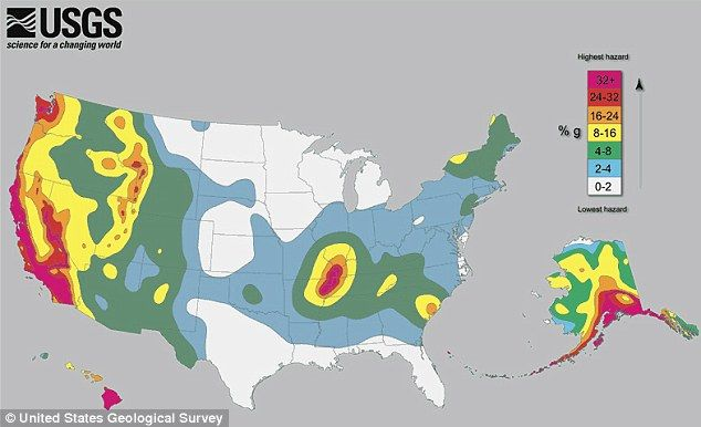 The earthquake map of America: A seismic map shows that living far from the West Coast is no guarantee of safety from earthquakes