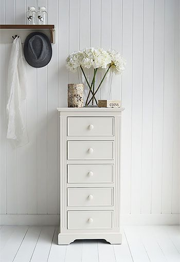Rockport Ivory tall chest of drawers. French style furniture available in UK online from The White Lighthouse