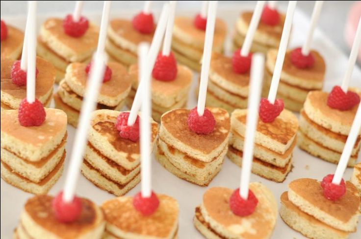 Heart-shaped pancakes on a stick. Perfect for a brunch shower. By Eat Drink Pretty.