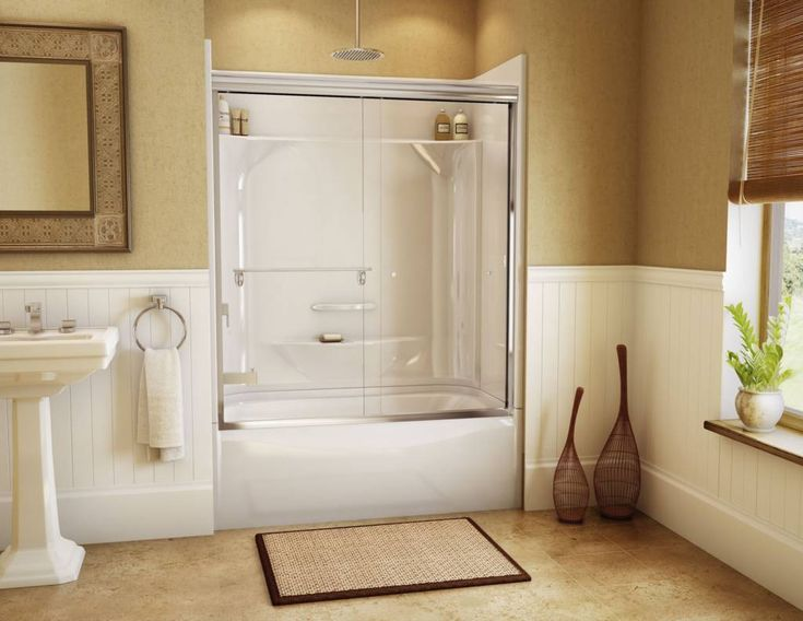 simple white corner tub shower combo for bathroom furniture design with rectangle shaped white bathtub