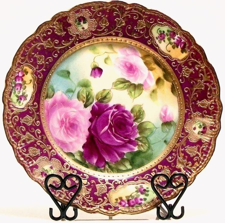 Hand Painted IE C Japan Roses Gold Beaded Nippon Era Decorative Plate  sc 1 st  Pinterest & 1929 best China images on Pinterest | Decorative plates Antique ...