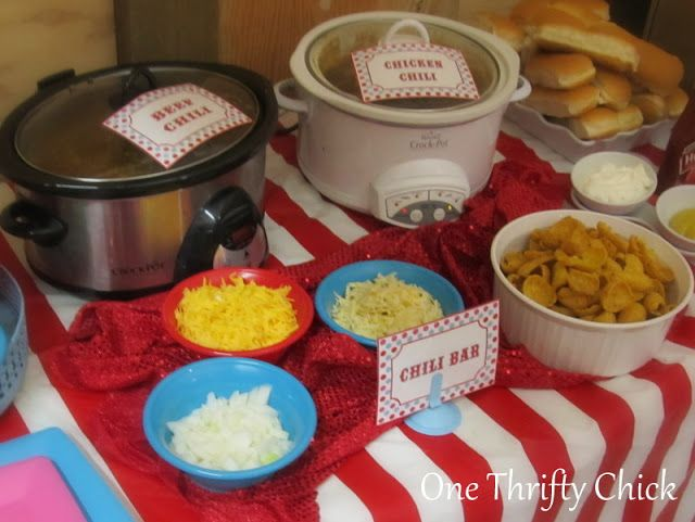 One thrifty chick first birthday carnival party carnival circus camping neighborhood - Carnival party menu ...