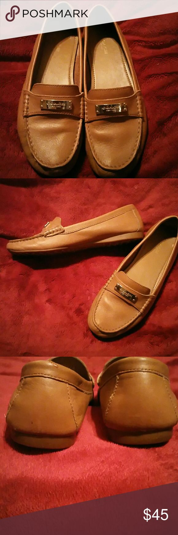 Coach tan loafers Coach tan loafers... real leather with gold trim in very good condition size eight and a half Coach Shoes Flats & Loafers