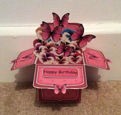 Pansies & Butterflies Pop Up Box Card  by TheBlenheimCardCo