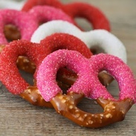Dipped and sugared pretzels